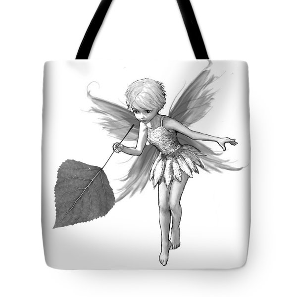 Quaking Aspen Tree Fairy With Leaf B And W Tote Bag