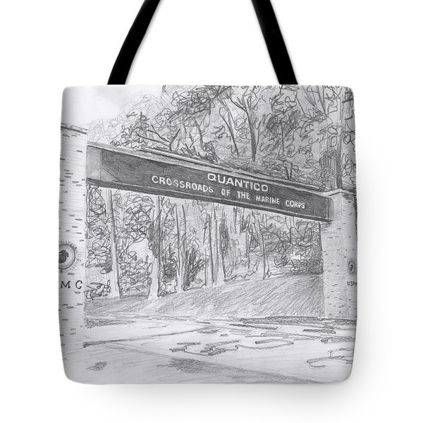 Tote Bag featuring the drawing Quantico Welcome Graphite by Betsy Hackett