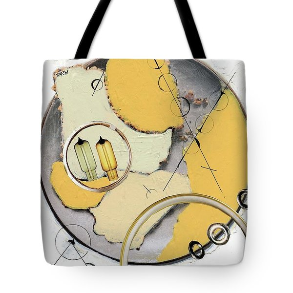 Tote Bag featuring the painting Quantom Physics by Michal Mitak Mahgerefteh