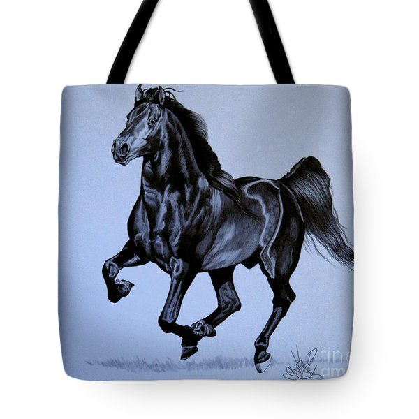 The Black Quarter Horse In Bic Pen Tote Bag by Cheryl Poland