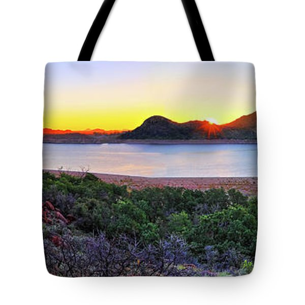 Quartz Mountains And Lake Altus Panorama - Oklahoma Tote Bag