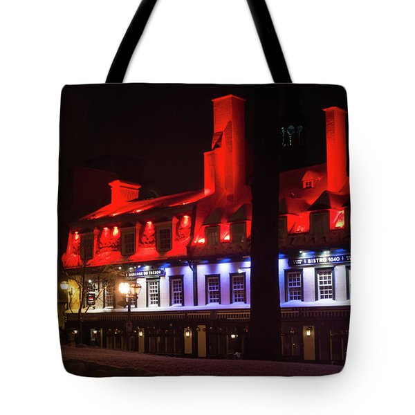 Quebec City At Night Bistro 1640 Tote Bag