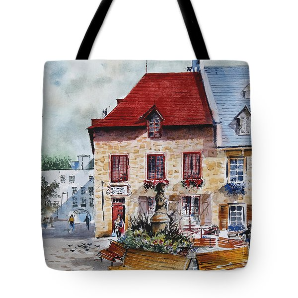 Quebec City Flower Boxes Tote Bag
