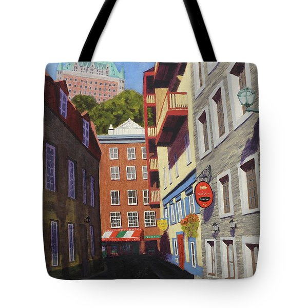 Quebec City Side Street Tote Bag