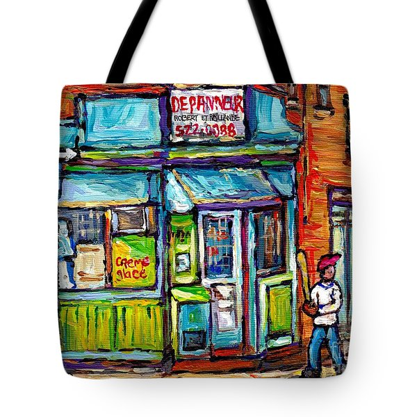 Quebec Painting Place Dufresne Boys Play Baseball At Corner Store Best Montreal Depanneur Art Scene Tote Bag