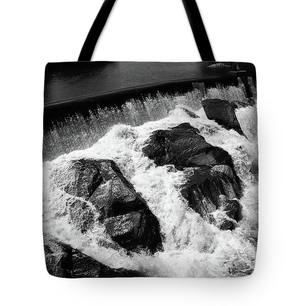Tote Bag featuring the photograph Quechee, Vermont - Falls 2 Bw by Frank Romeo