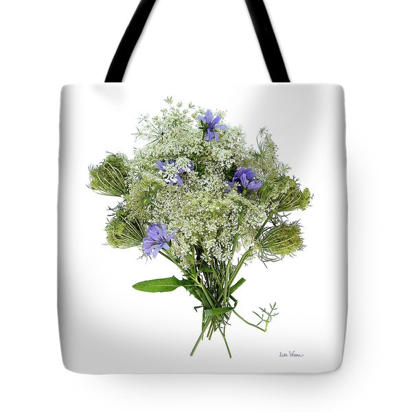 Queen Anne's Lace With Purple Flowers Tote Bag