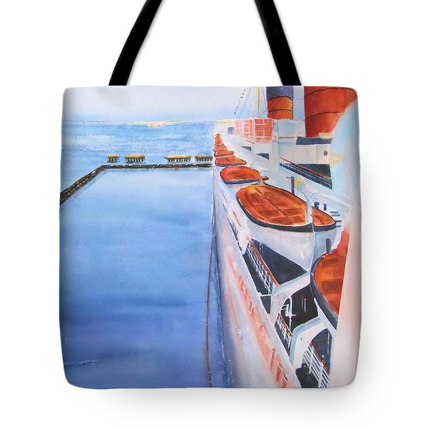 Queen Mary From The Bridge Tote Bag by Debbie Lewis