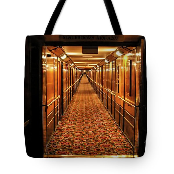 Tote Bag featuring the photograph Queen Mary Hallway by Mariola Bitner