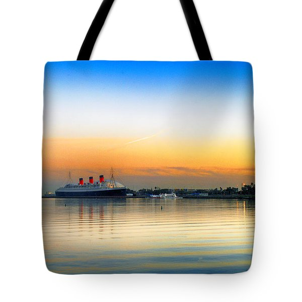 Tote Bag featuring the photograph Queen Mary Sunset by Joseph Hollingsworth
