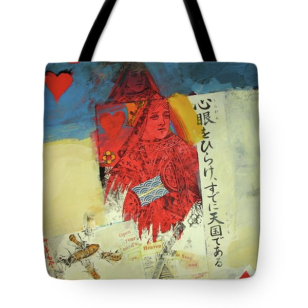 Tote Bag featuring the mixed media Queen Of Hearts 40-52 by Cliff Spohn