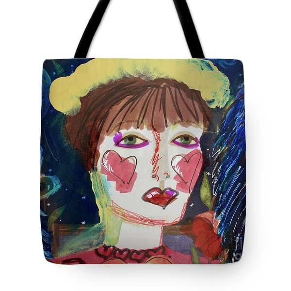 Tote Bag featuring the painting Queen Of Hearts by Kim Nelson