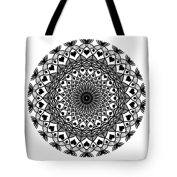 Queen Of Hearts King Of Diamonds Mandala Tote Bag