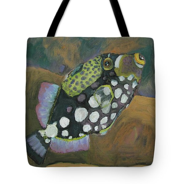 Tote Bag featuring the painting Queen Trigger Fish by Susan  Spohn