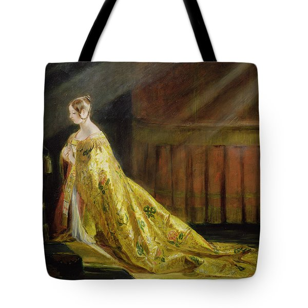 Queen Victoria In Her Coronation Robe Tote Bag by Charles Robert Leslie
