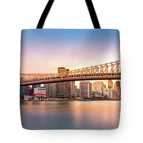 Queensboro Bridge At Sunset Tote Bag by Mihai Andritoiu