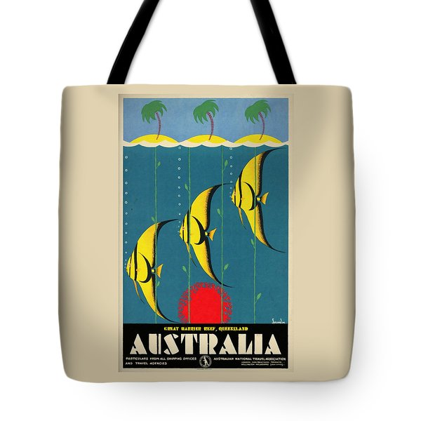Queensland Great Barrier Reef - Vintage Poster Vintagelized Tote Bag