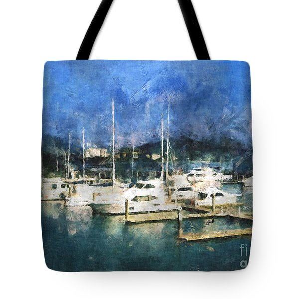 Tote Bag featuring the photograph Queensland Marina by Claire Bull