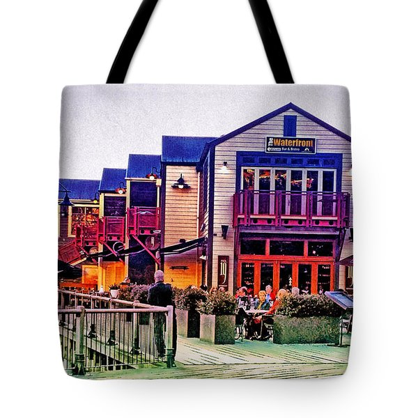 Tote Bag featuring the photograph Queenstown Waterfront At Sunset by Kathy Kelly