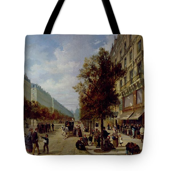 Queueing At The Door Of A Grocery Tote Bag by Jacques Guiad
