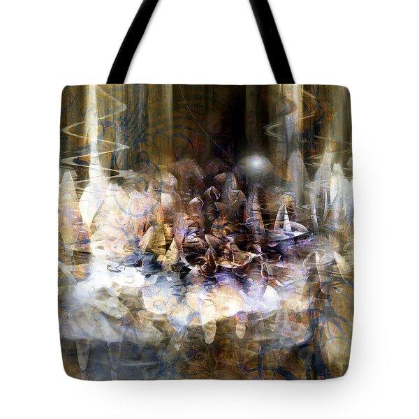 Tote Bag featuring the digital art  Quiet Thunder by Linda Sannuti