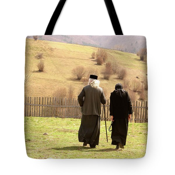 Quiet Walk At The Monastery Tote Bag