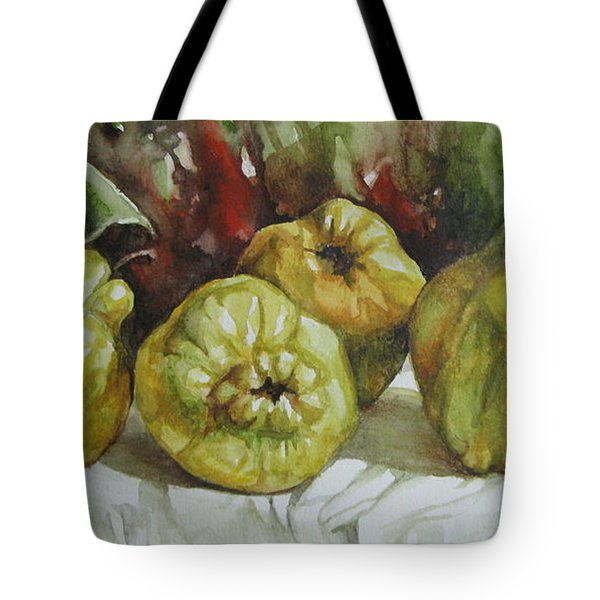Tote Bag featuring the painting Quinces by Elena Oleniuc