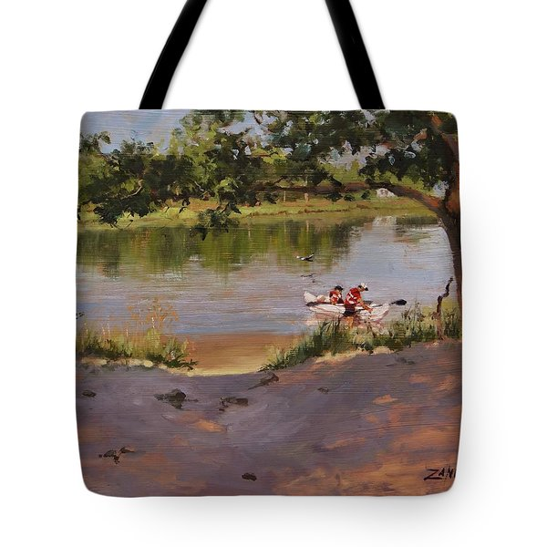 Tote Bag featuring the painting Quincy's Hidden Gem by Laura Lee Zanghetti