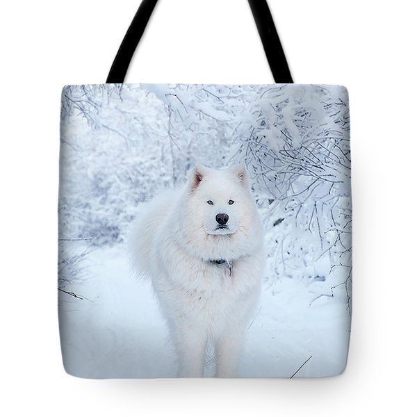 Quinn The Mighty Samoyed Tote Bag