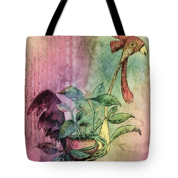 Quirky Rooster Planter Tote Bag by Arline Wagner