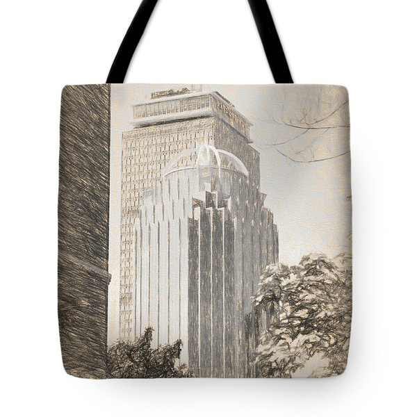 R2d2 Building And The Prudential Center Tote Bag