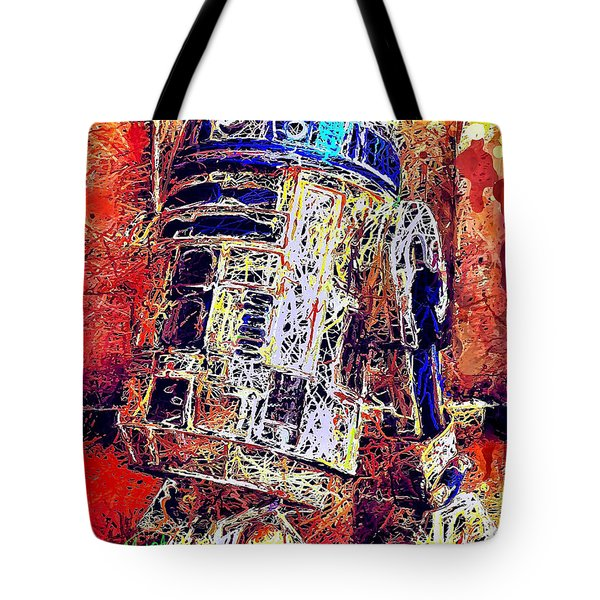 Tote Bag featuring the mixed media R2 - D2 by Al Matra