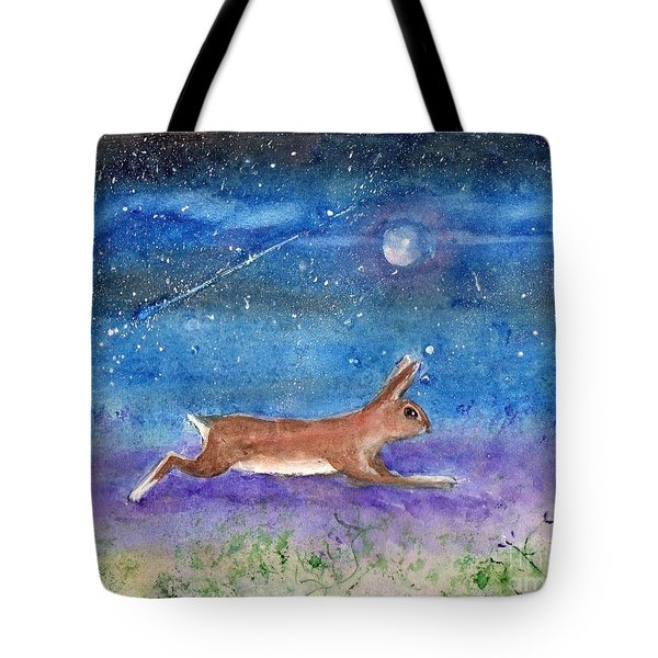Rabbit Crossing The Galaxy Tote Bag