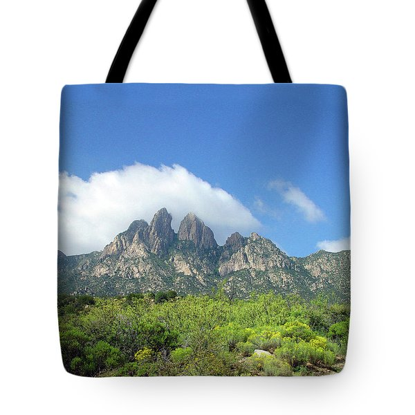 Tote Bag featuring the photograph  Organ Mountains Rabbit Ears by Jack Pumphrey