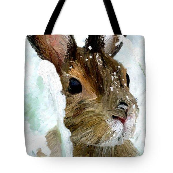 Rabbit In Snow Tote Bag by James Shepherd
