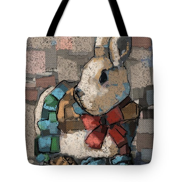 Tote Bag featuring the painting Rabbit Socks by Carrie Joy Byrnes