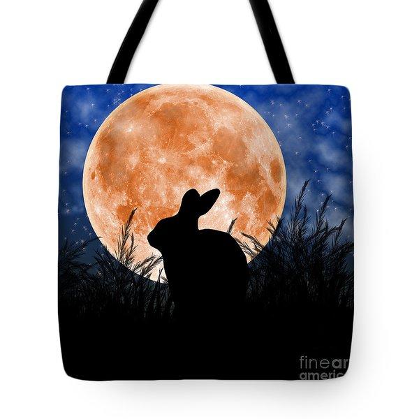 Rabbit Under The Harvest Moon Tote Bag by Elizabeth Alexander