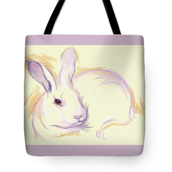 Tote Bag featuring the pastel Rabbit With A Red Eye by MM Anderson