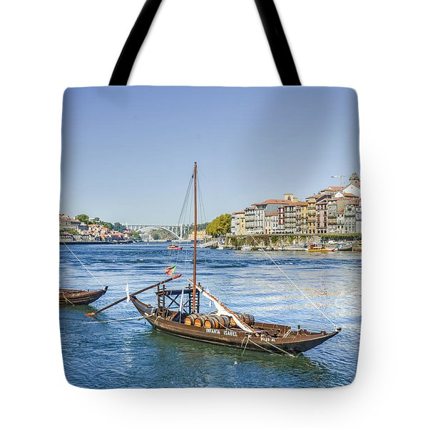 Tote Bag featuring the photograph Rabelos On The Douro by Brian Tarr