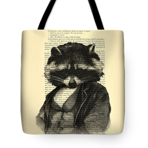 Raccoon Portrait, Animals In Clothes Tote Bag