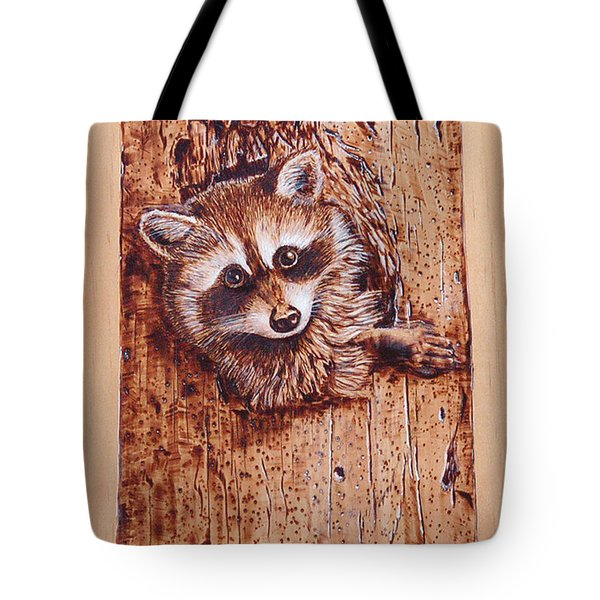 Tote Bag featuring the pyrography Raccoon by Ron Haist