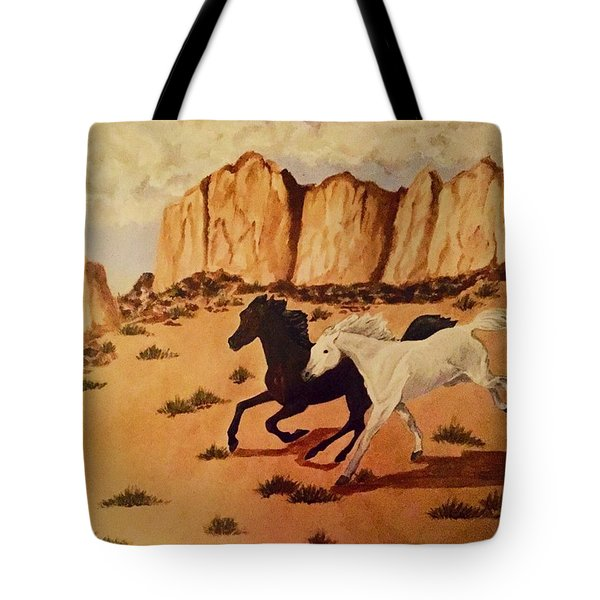 Tote Bag featuring the painting Race by Elizabeth Mundaden