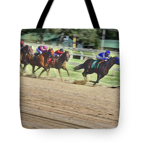 Race Horses In Motion Tote Bag