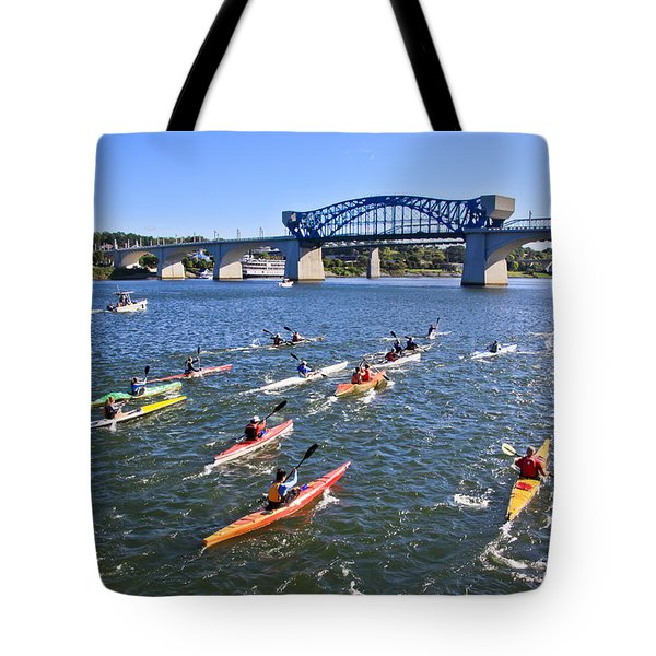 Race On The River Tote Bag by Tom and Pat Cory
