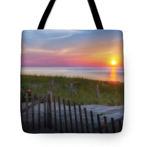 Tote Bag featuring the photograph Race Point Sunset 2015 by Bill Wakeley