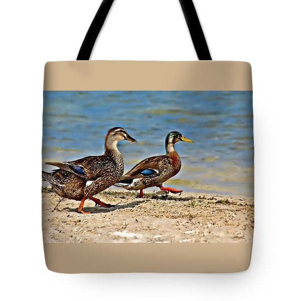 Race You To The Water Tote Bag by Carolyn Marshall