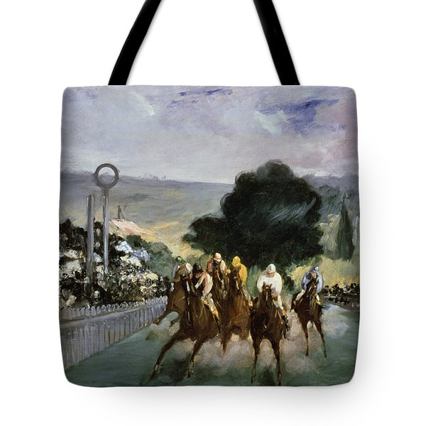 Races At Longchamp Tote Bag by Edouard Manet
