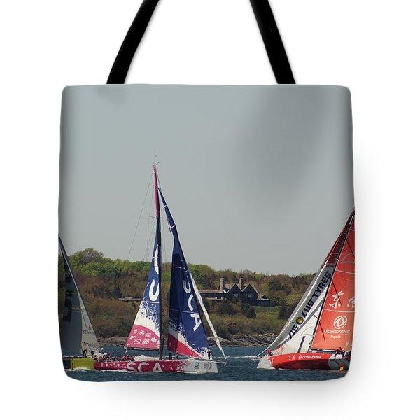 Racing At Newport Tote Bag