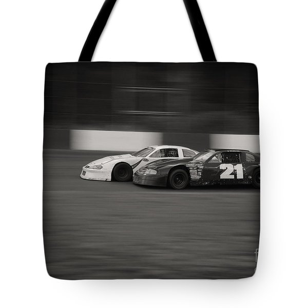 Racing At The Speedway Tote Bag