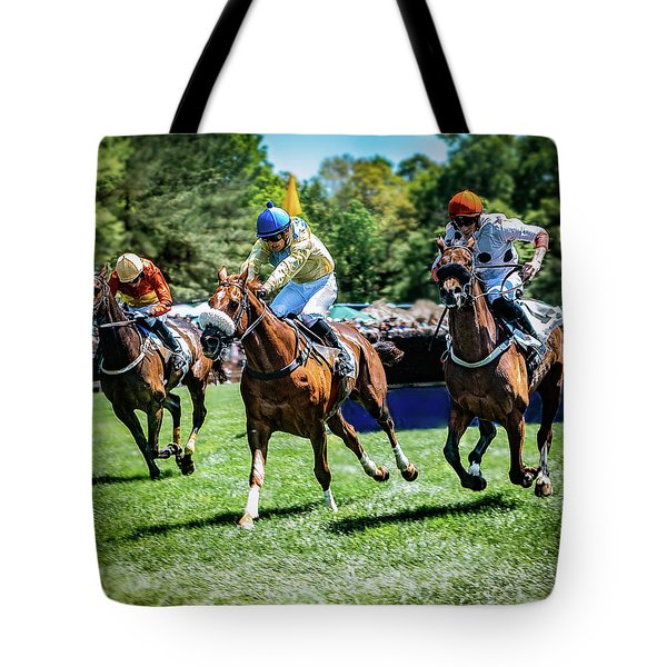 Racing Down The Stretch Tote Bag